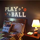 "Wall Decor Plus More Play Ball Art for Kids or Teen Wall Sticker Decal 6"" H Letter White"