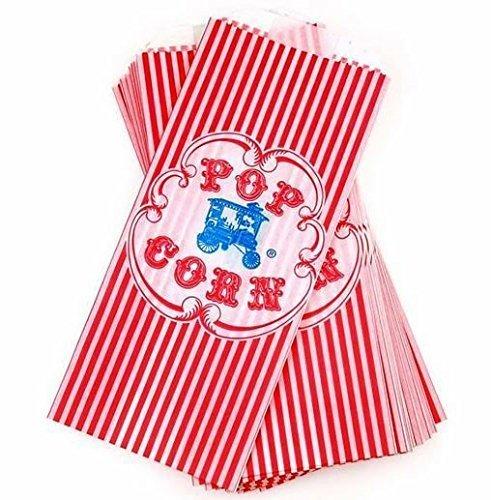 Vintage Retro Style Red Striped Wagon Popcorn Bag - 100 Count (Popcorn Bags Retro compare prices)