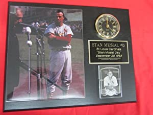 Stan Musial St Louis Cardinals Collectors Clock Plaque w 8x10 Photo and Card 1963... by J & C Baseball Clubhouse