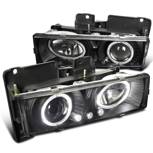 Spec-D Tuning LHP-C1088JM-RS Chevy GMC C10 Pickup Silverado Suburban Black Halo Led Projector Headlights (1997 Chevy Silverado 1500 Led compare prices)