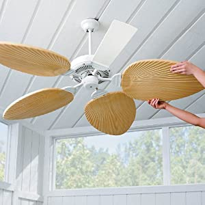 Palm Leaf Ceiling Fan Blades Set Of 5 Sand