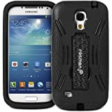 Fosmon HYBO-DT Series Detachable Hybrid Dual Layer Heavy Duty Case Cover with Stand for Samsung Galaxy S4 Mini GT-I9190 / GT-I9195 - Fosmon Retail Packaging (Black)