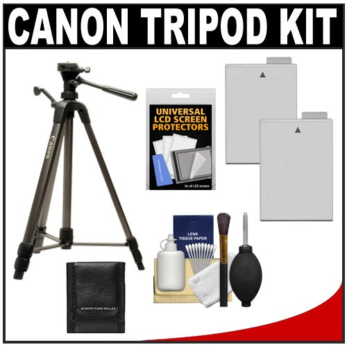 "Canon 62"" Deluxe Photo/Video 300 Tripod With 3-Way Panhead & Case + (2) Lp-E8 Batteries + Carrying Case + Kit For Eos Rebel T2I, T3I & T4I Digital Slr Cameras"