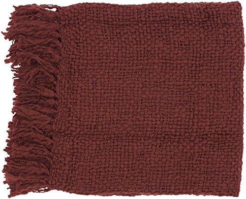 "Surya Tobias Tob-1001 Knit Hand Woven 70% Acrylic / 30% Wool Burgundy 51"" X 71"" Throw"