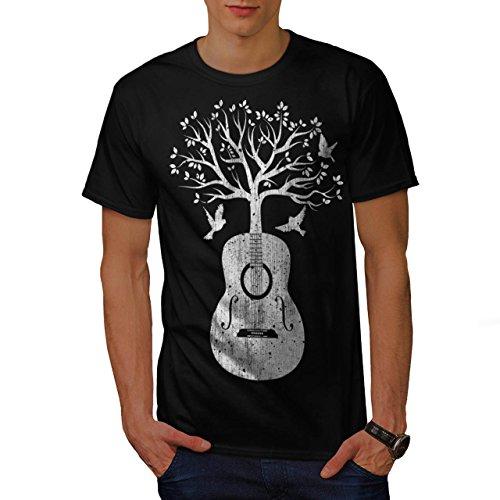 Chitarra Musica Albero Vita Melodia Uomo Nuovo Nero M T-Shirt | Wellcoda