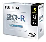 Fujifilm BLURAY BD-R JEWEL CASE 25GB 4X SPEED (5 PACK)