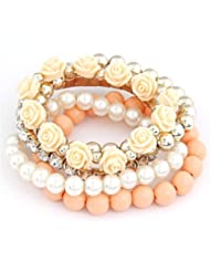 Cinderella Collection By Shining Diva Trendy Fashion Orange Color Pearl Rose Flower Multilayer Charm Bracelet...