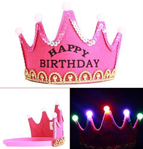 ViviS-LED-Light-Crown-Party-Hat-Happy-Birthday-Printed-Party-Supplies-HOT-PINK