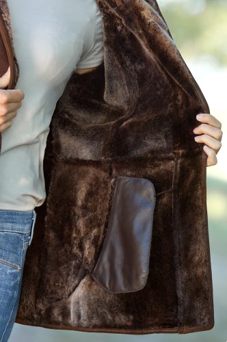 Piper Shearling Sheepskin Coat with Detachable Hood, ANTIQUE FROST, Size MEDIUM (8-10)