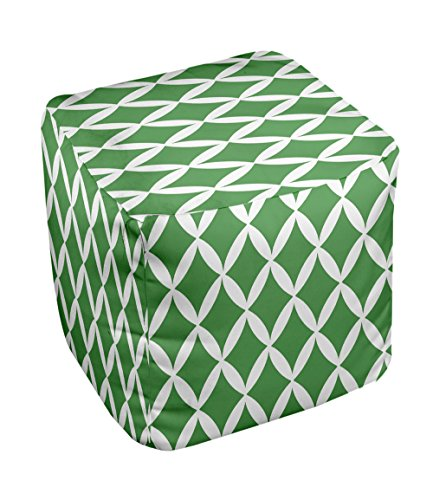 E by design FG-N1-Leaf_White-13 Geometric Pouf - 1
