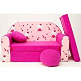 Kindersofa Bettfunktion 3in1 Sofa Kindersessel Ausziehbett Bett H23 pink Halli Kitty