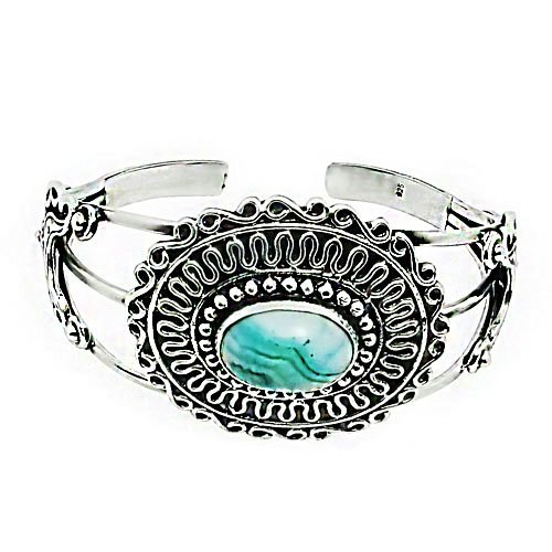 Tungsten Love Natural Sea Agate Gemstone Cuff Bracelet Platinum Plating (Size Adjustable)