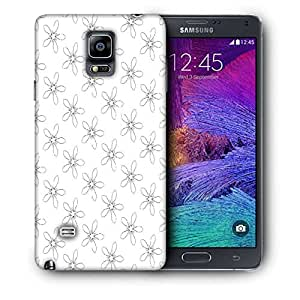 Snoogg Floral Grey Pattern Printed Protective Phone Back Case Cover For Samsung Galaxy NOTE 4 / NOTE IIII