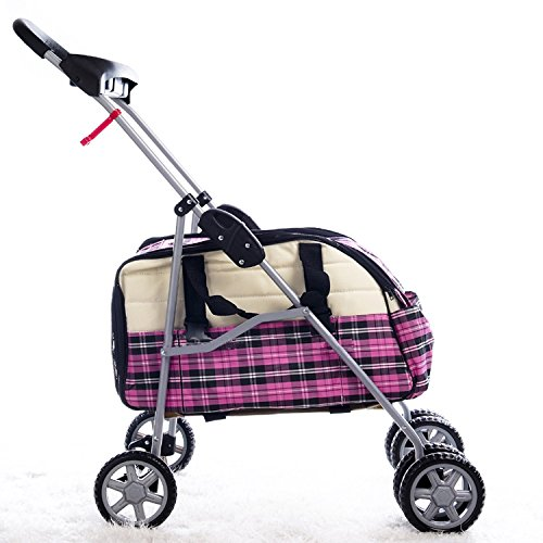 Pink Plaid Pet Stroller/Carrier/Car Seat