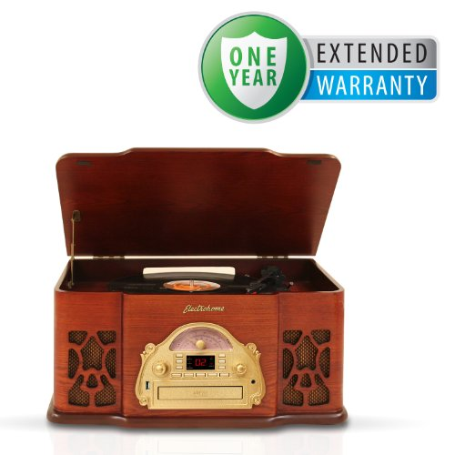 Electrohome EANOS502 4-In-1 Nostalgia Turntable Real Wood Stereo System with Record Player, USB Recording, MP3, CD & AM/FM Radio & Bonus 1 Year Warranty