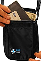 Passport Holder Neck Pouch Stash - 2 in 1 Functionality - Made Of RFID BLOCKING Material. Use As Travel Wallet or Secret Hidden Pocket - Protect Your Money, CREDIT Cards And Documents With This Luggage / Travel Accessory - 100% SATISFACTION GUARANTEE Plus a FREE Document Case