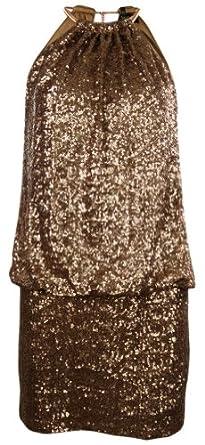 Sequined Necklace Blouson Dress (2, Rose Gold)