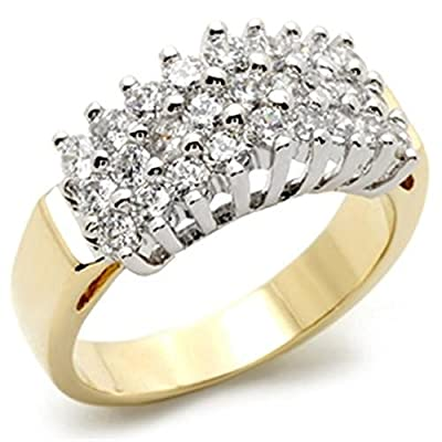 YourJewelleryBox TK1376P WOMENS REALISTIC CLUSTER SIMULATED DIAMOND RING18KT STEEL NO TARNISH