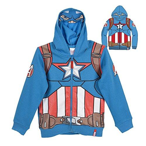 Felpa con Zip e Cappuccio con Maschera - Supereroi Spider-Man Captain America Iron Man - Bambino - Novità Prodotto Originale 6111HPD 0521HP [Azzurro - Capitan America - 10 anni -140 cm]