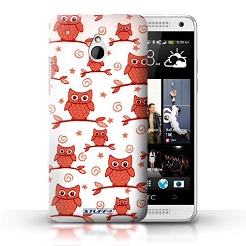 Stuff4 Phone Case / Cover For Htc One/1 Mini / Red/White Design / Cute Owl Pattern Collection / By Deb Strain / Penny Lane Publishing, Inc.