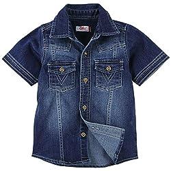 Oye Boys Solid Denim Half Sleeve Shirt - Blue (1-2Y)