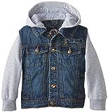 Urban Republic Big Boys Denim Jacket With Fleece Hood and Sleeves