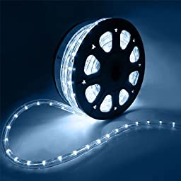 Flexible 50\' LED Crystal Clear PVC Tubing Rope Light Indoor/Outdoor Boat Deco...