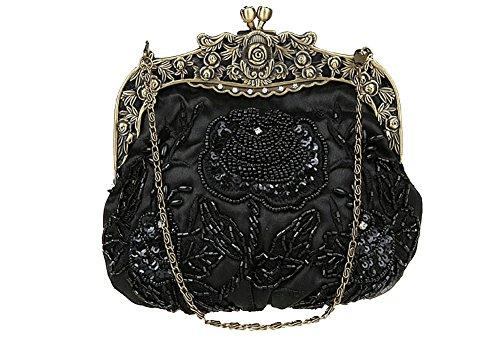 ILISHOP Women's Antique Beaded Party Clutch Vintage Rose Purse Evening Handbag (Black) (Vintage Clutch compare prices)