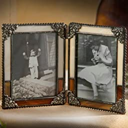 J Devlin Pic 320-2 Stained Glass Double Hinged Photo Frame Brown and Ivory Opalescent Holds Two 2 1/2 x 3 1/2 Pictures