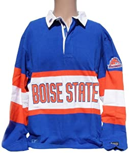NCAA Boise State Broncos Panel Rugby Shirt, Large, Blue Orange White by Donegal Bay