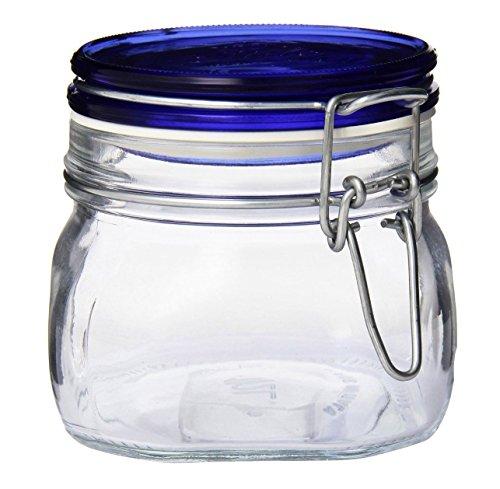 Bormioli Rocco Fido Square Jar with Blue Lid - 17.5 Ounce