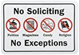 "SmartSign Adhesive Vinyl Label, Legend ""No Soliciting No Exceptions"" with Graphic, 7"" high x 10"" wide, Black/Red on White"