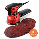 Hi-Spec Heavy Duty 240W Rotating Disc Palm Sander with Dust Collector & 10pc Sanding Pad Kit for Removing Paint, Varnish, Stains, Preparing Furniture, Polishing, Sanding Down & Finishing Wood (Color: B. Disc Sander)