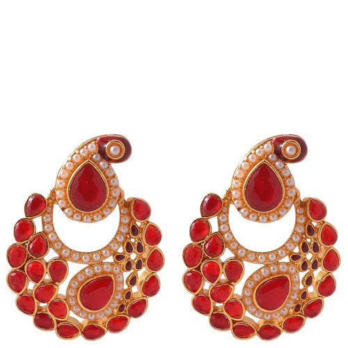 Kushal Ruby Colour Gold plated Antique Earrings for women