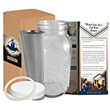 2 Quart Cold Brew Coffee Maker, Iced Coffee Kit &Tea Brewer, Mason Jar & Stainless Steel Filter 64 Oz