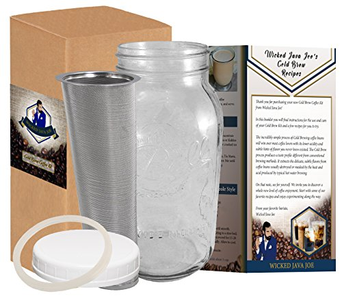 Cold Brew Coffee Maker, Iced Tea Infuser - Stainless Steel Filter & Mason Jar, 2 Quart / 64 Oz