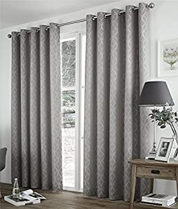 """Geometric Two Tone Grey 46x54"""" Thermal Block Out Lined Ring Top Curtain Drapes from Curtains"""