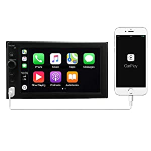 LEADSIGN CT-6200 Double Din Car Stereo Digital Media Receiver with Apple CarPlay,Android Auto,Built-in Bluetooth,6.2 Touch Monitor,MP5/WMA Player,USB Ports,AVIN Input and AM/FM Radio Tuner (Color: Black)