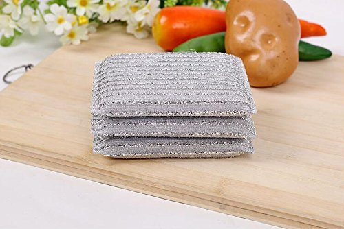 Kocopoo New Light-weight Steel Wire Sponge Cleaning Scouring Pad,Dish Scrubber For Tableware, Kitchenware Cleaning (High-quality,Not Hurting Hands,3 pieces) (Dish Scrubber Steel compare prices)