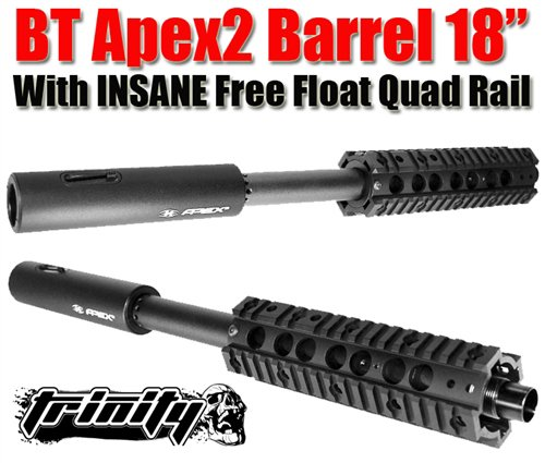 "Bt Apex2 Barrel 18"" With Trinity Insane Free Float Quad Rail For Tippmann Phenom Paintball Gun, Tippmann Phenom Gun Barrel, Tippmann Paintball, Tippmann Paintball Gun Barrel, Trinity Paintball, Free Shipping"