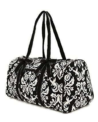 """Belvah Large Quilted Damask Print 21"""" Duffle Bag - Chioce of Colors (Black/White)"""