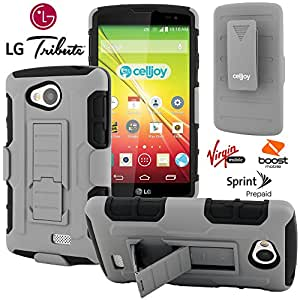 LG Tribute Case, CellJoy [Future Armor] {Wolf Gray} LG Tribute LS660 2014 Release Model Case Hybrid Ultra Fit Dual Protection [Heavy Duty] Kickstand Holster **Shock-proof** [Belt Clip Holster Combo] - Robot Case Cover