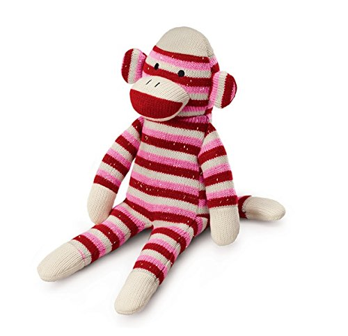 Russ Berrie Red and Pink Striped Sock Monkey Plush - 1
