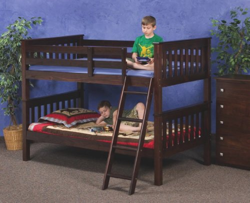 Cappuccino Solid Wood Convertible Bunk Bed