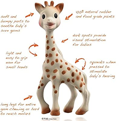 Vulli Sophie the Giraffe Teether, Natural Rubber Baby Pacifier Squeaker Toy