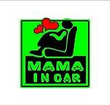 MAMA IN CAR 緑 カッティングステッカー ウォールステッカー ステッカー シール 和光堂