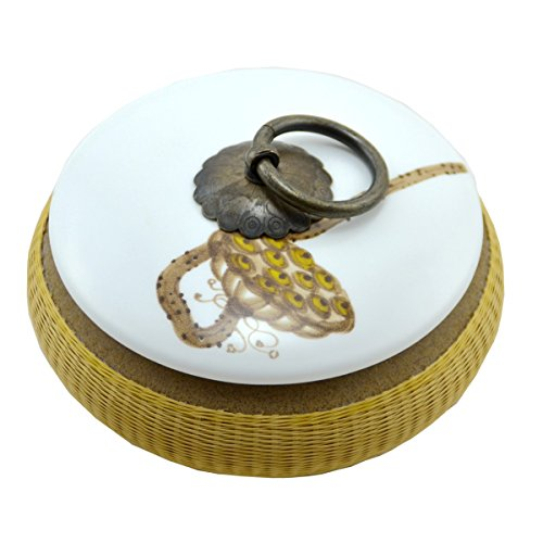 Chitao Chinese Ceramics Porcelain Bamboo Weaving Weave White Tea Canister Jar Holder
