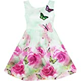 HY13 Girls Dress Rose Flower Print Butterfly Embroidery Green Size 6