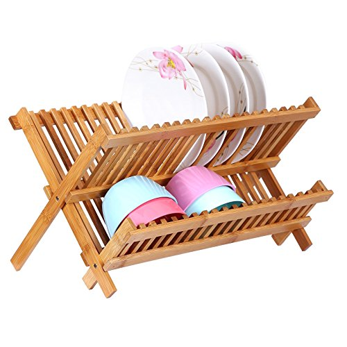 Songmics 2 Levels Bamboo Folding Dish Rack Dish Drying Rack Holder Utensil Drainer UKAB901 Review