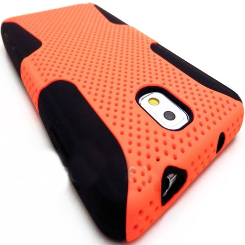 myLife TM Black Sweet Orange Flexi Grip 2 Piece Mesh Armorsuit Tough Jacket Case for the Samsung Galaxy Note 3 4G Smartphone Fits Models N9000 - N9002 and N9005 External Mesh Fitted Hardshell Protector Internal Solft Silicone Flexible Easy Grip Bumper Gel Lifetime Warranty Sealed Inside myLife Authorized Packaging Only ADDITIONAL DETAILS ADDITIONAL DETAILS This 2 piece mesh and gel armor case has easy grip silicone sides that that prevent the case from slipping out of your hand - yet allow the case to slide easily in and out of your pocket